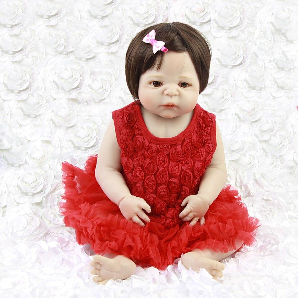 23 ''всего тела винил возродиться младенцев Одежда для девочек красное платье Реалистичного Reborn куклы детские игрушки 57 см bebe можно купать де