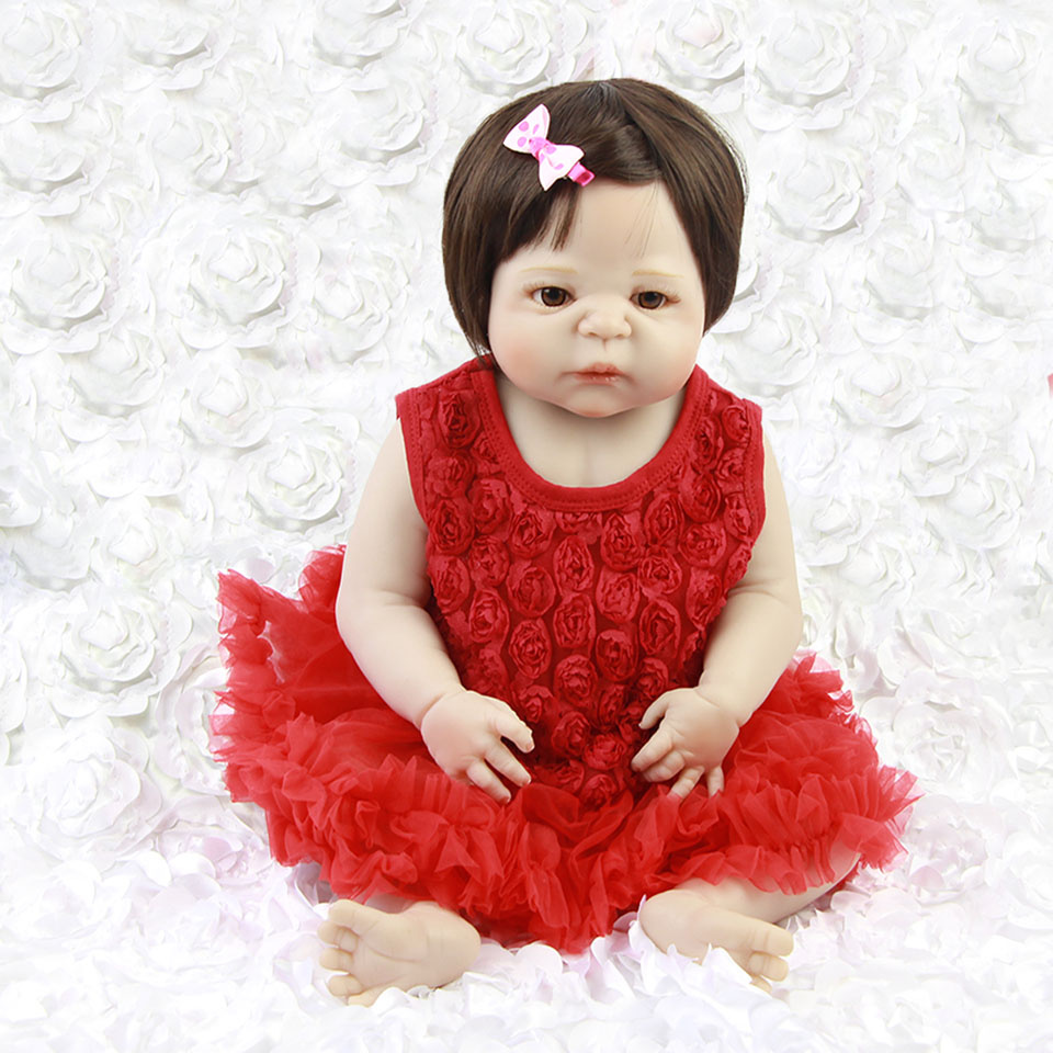 23'' Full Body Vinyl Reborn Babies Girl Wear Red Dress Lifelike Realistic Reborn Dolls Baby Toy 57 cm bebe Can Bathe Kids Player цена