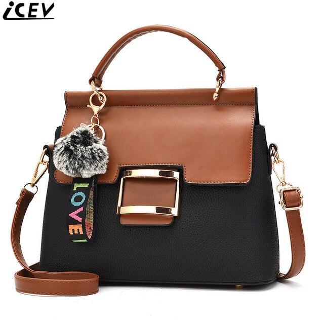 69241d1dc4 ICEV 2018 new designer high quality female leather handbag patchwork  satchels ladies messenger bag shoulder clutch cover pocket