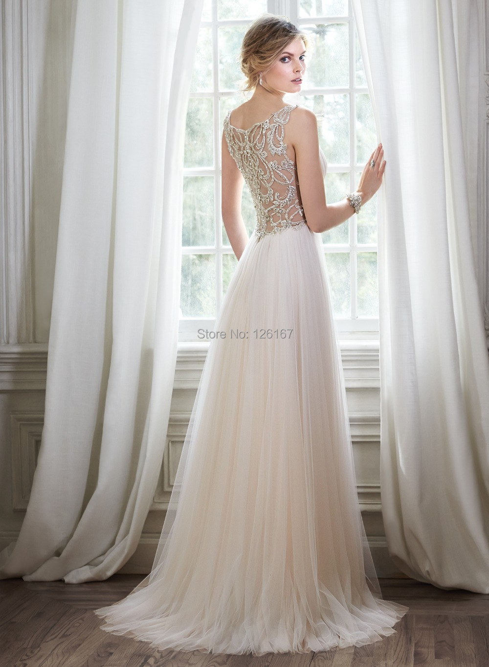 Garden Style Wedding Dresses 2017 New Arrival Bridal Dress Cap Sleeve V Neck Crystal Beads Transpa Back Tulle In From