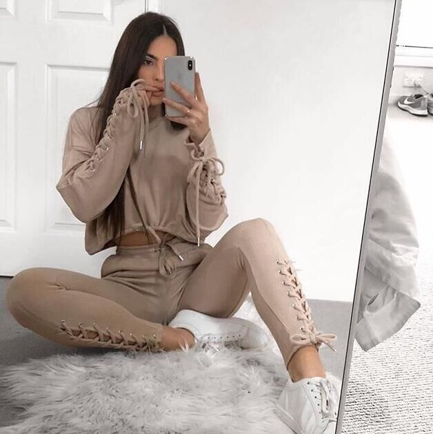 OMSJ Autumn Winter Bandage Two Piece Set Women Lace Up Solid Casual Suit Female Clothing Crop Sweatshirt Top And Pants Tracksuit