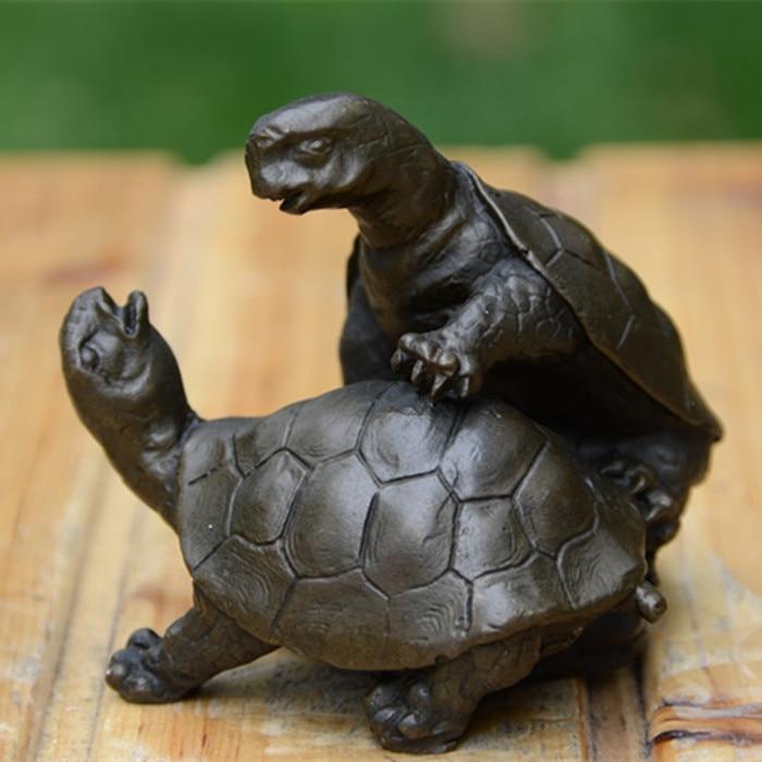 Bronze statue de tortue ornements accompagné les œuvres de art Ameublement Bijoux De Mariage D'anniversaire Cadeau Feng Shui