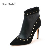 Roni Bouker Spring Autumn Women Ankle Zipper Boots Spikes Real Leather Booties Handmade Brand Lady Studs Shoes Factory Sale