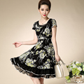2016 Summr Chiffon Middle Aged Women Dress Print A-line Plus Size Temperament Short Sleeve O-neck Casual Diamonds Dresses