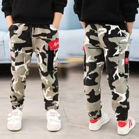 Teens Boy Spring Autumn Camo Grey Loose Cargo Pant Big Boys Pants Casual Elastic Pocket Cotton Quality 5 6 7 8 9 10 11 Years