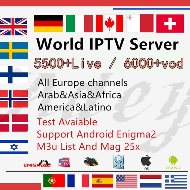 IPTV M3u Subscription Iptv Italy UK German French Spanish For V8 NOVA V9  Super GTC G1 Android Box Enigma2 Smart TV PC Linux