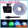 1 unids Tubo Colorido impermeable led solar luz de la secuencia 100LED Solar Luces solares Luces De Navidad Al Por Mayor