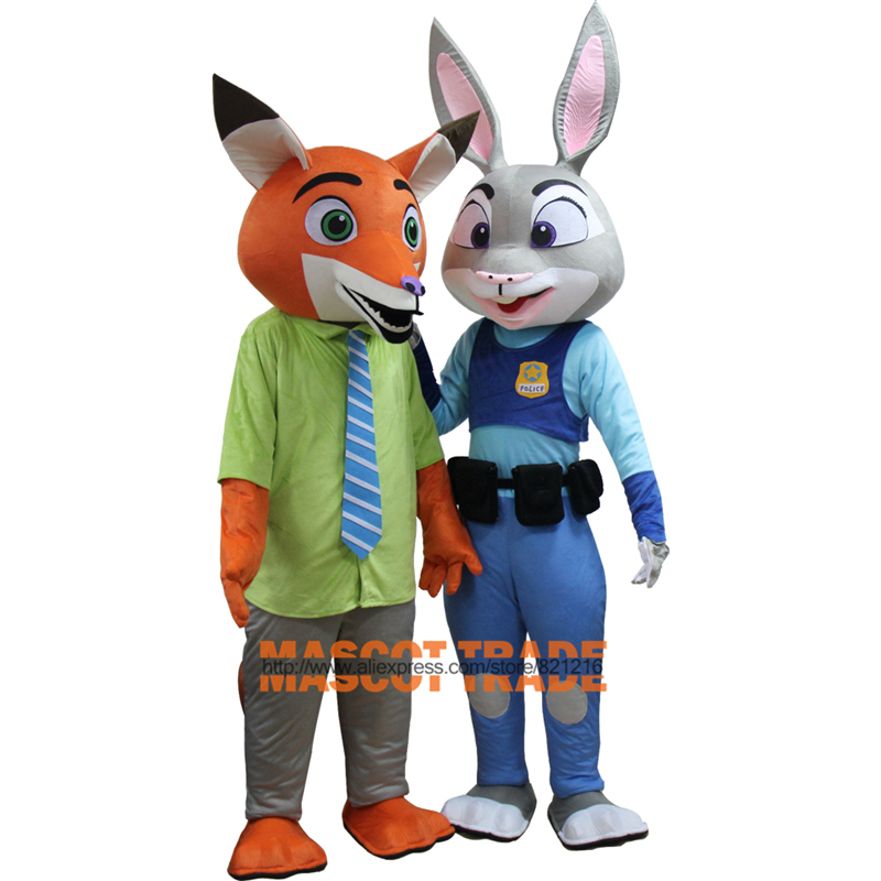 Crazy City Animal Mascot Judy Hopp Rabbits And Nick Fox Mascot Costume for Halloween party event