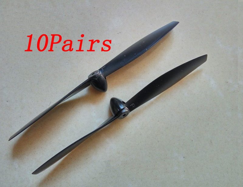 10Pairs Glider Propeller 130/140/180/370 Motors Paddle Aperture 2mm L 110mm CW CCW Prop Spare Parts for RC Airplane Model image