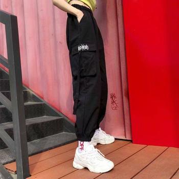 Damskie spodnie hip-hopowe Cargo Cargo damskie spodnie haremowe Streetwear Casual spodnie czarne letnie luźne spodnie harajuku z boczne kieszenie tanie i dobre opinie WOMEN COTTON Poliester spandex Kostki długości spodnie High Street Suknem Przycisk fly List Wysoka Mieszkanie Harem spodnie