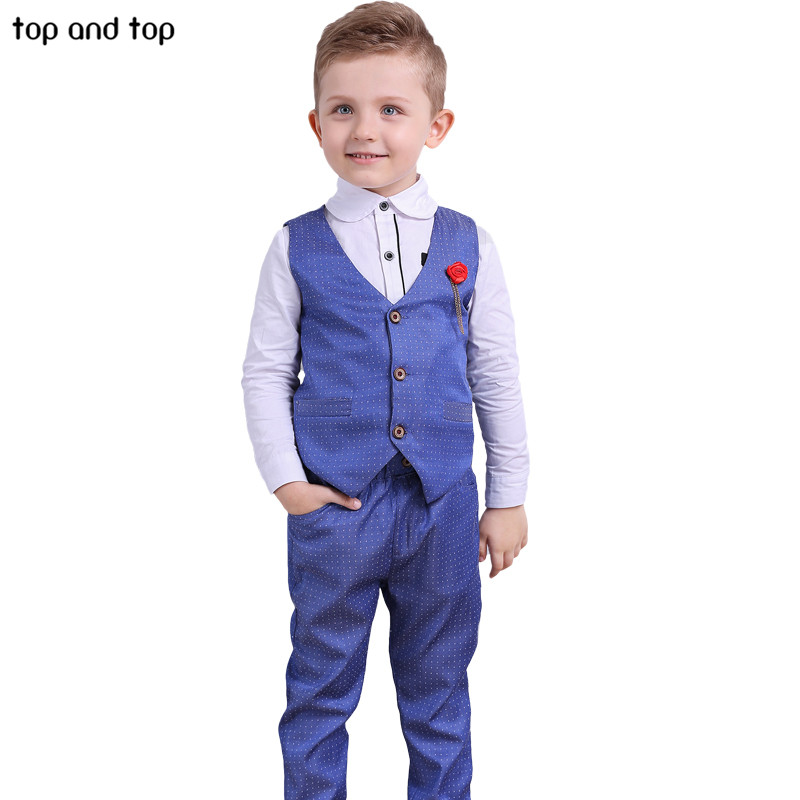 Top and Top Children Boys Formal Clothing sets Dots Vest+White shirt+ Pants 3pcs /Set Spring Autumn Kids Gentleman clothes suit boys clothes sets formal gentleman suit 3pcs set children clothing set kids clothes for baby birthday wedding party
