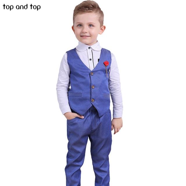 Top and Top Children Boys Formal Clothing sets Dots Vest+White shirt+ Pants 3pcs /Set Spring Autumn Kids Gentleman clothes suit