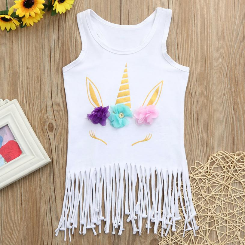 MUQGEW Cotton rhinestone summer dress baby girls Sleeveless tassel hem dress 2018 Vestidos Unicorn party princess dress for kids