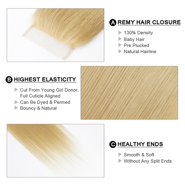"""Fairy Remy Hair Straight 4x4 Closure Human Hair Lace With Baby Hair Closure Swiss Lace Gold Blonde Color 18"""" European Remy Hair 1"""