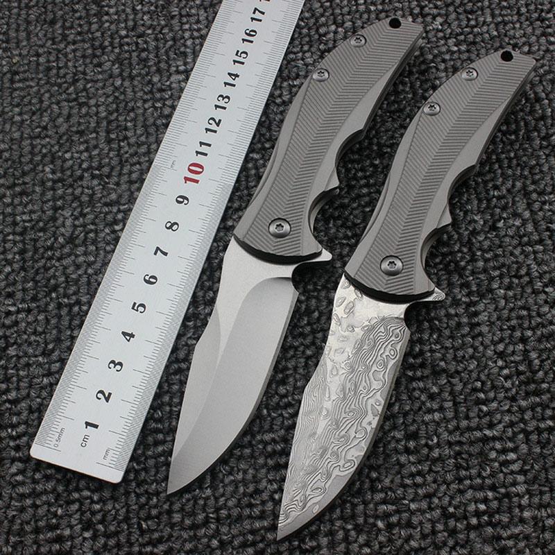 ZT0606 folding knife 0606CF D2/Damascus blade TC4 Titanium alloy handle pocket knife ball bearing outdoor camping EDC knife цена