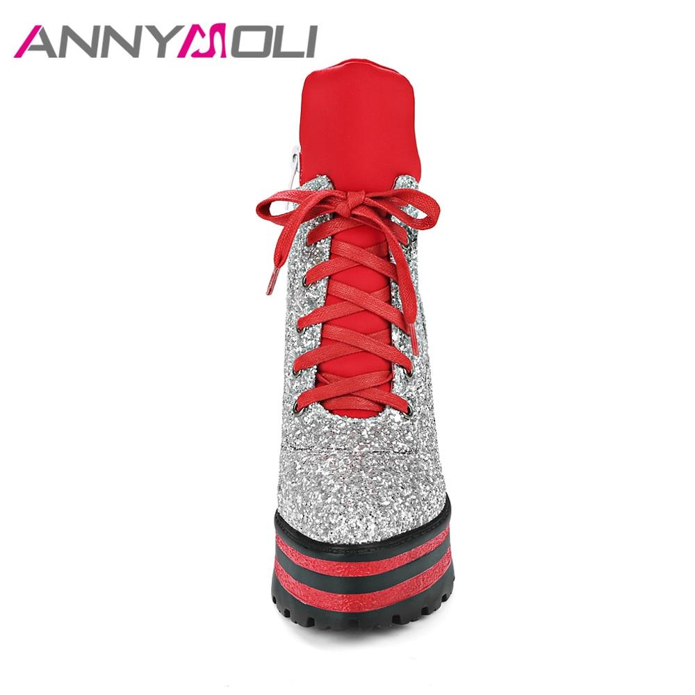 ANNYMOLI Wanita Ankle Boots Platform Wedge High Heels Sepatu Bot - Sepatu Wanita - Foto 2