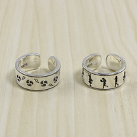 Bold Sterling Silver 925 Cartoon Band Rings For Men Women Oxide Thai Silver Ring Simple Band Cool Personality 925 Silver Rings