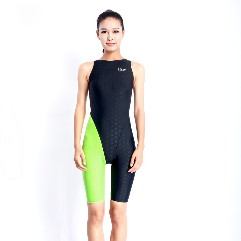HXBY swimwear girls racing swimsuits sharkskin professional swimsuits knee one piece competition swim suits one piece 21