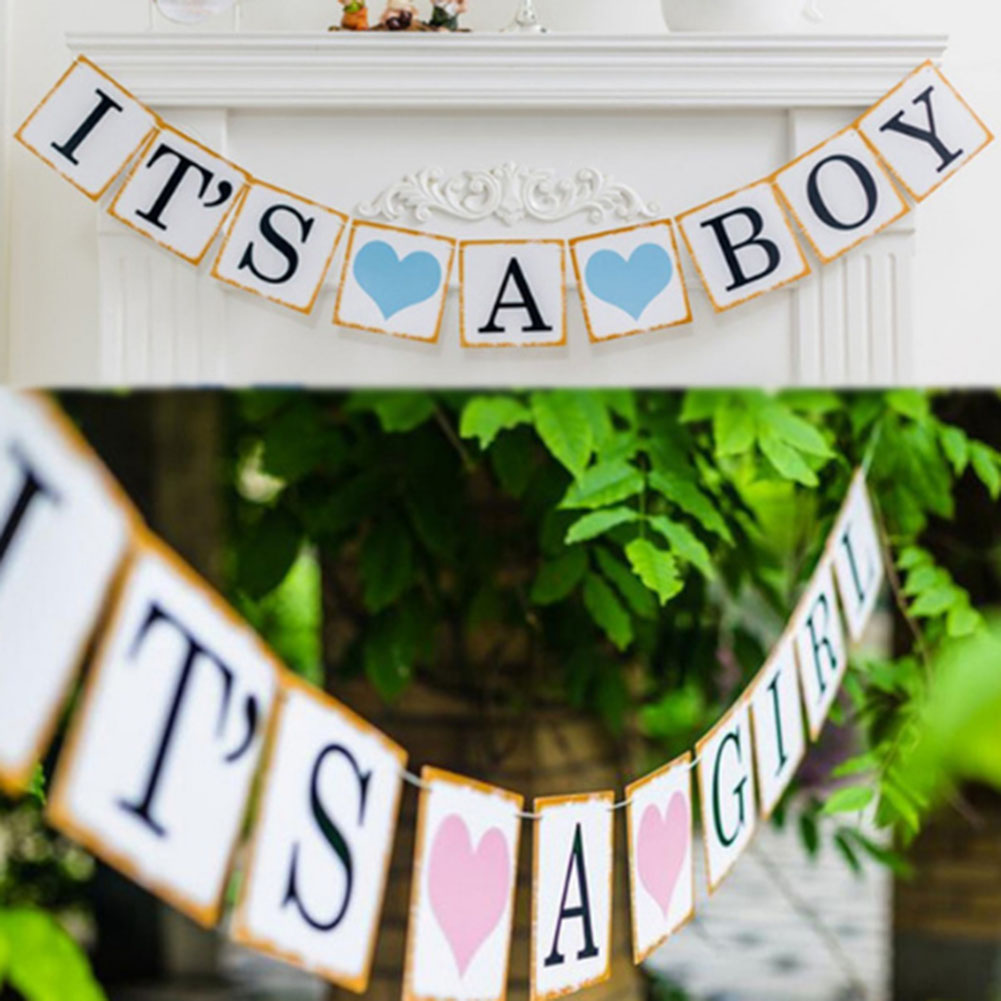 It/'s A Boy//Girl Bunting Banner Garland Baby Shower Party Hang Home Decor Prop