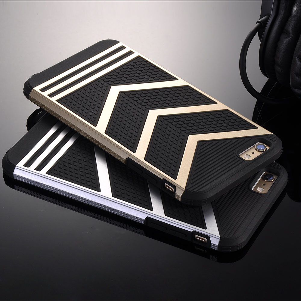 For iPhone 6 Case Gold Luxury Retro Hybrid Case For iPhone 6 6S 7 Plus Hard PC + TPU Armor Cover Dual Layer Logo Ci