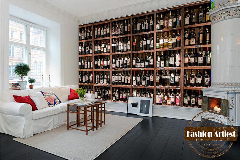 Aliexpress.com : Buy Custom Modern 3d Wallpaper Mural Red Wine Cabinet Wine  Rack Wall Exhibition Sofa Bedroom Living Room Cafe Restaurant Background  From ... Part 4