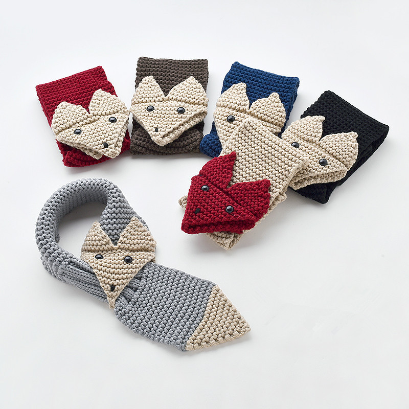 Boy And Girl 3d Knitting Fox Scarf Winter Children Button Eyes Shawl