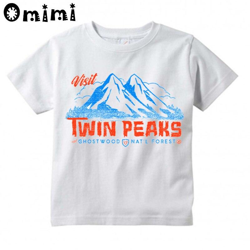 Посетите Твин Пикс Дизайн футболки для мальчиков/девочек летние милые топы белого цвета футболки детская одежда