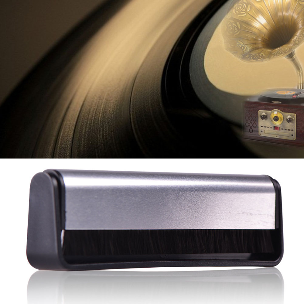 Scrubbing Phonograph Anti Static Record Brush Audio Turntables Carbon Fiber Pad Black Handle Cleaner Soft Cleaning Tool Vinyl