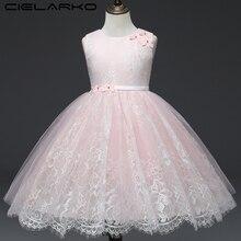 Cielako/платье для девочек; кружевное розовое праздничное платье принцессы; детское платье без рукавов из тюля с цветочным рисунком; нарядная детская одежда для девочек