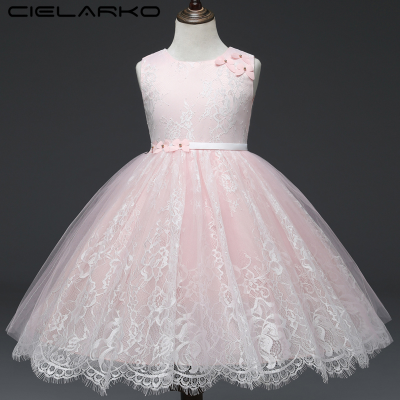 Cielako Dress for Girl Lace Princess Pink Party Dresses Sleeveless Tulle Flower Kids Frock Pageant Children Outfits for GirlsCielako Dress for Girl Lace Princess Pink Party Dresses Sleeveless Tulle Flower Kids Frock Pageant Children Outfits for Girls