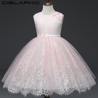 Cielako Dress for Girl Lace Princess Pink Party Dresses Sleeveless Tulle Flower Kids Frock Pageant Children Outfits for Girls