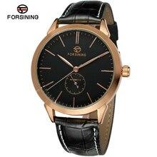 FORSINING relojes hombre ultra delgado Top brand Reloj de los hombres de Cuero Casuales de Negocios Automática Analógico Reloj de Los Hombres Relogio regalo