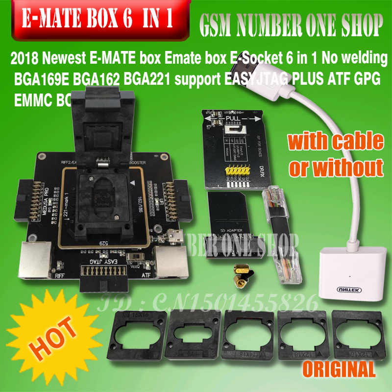E-MATE box Emate pro E-<font><b>Socket</b></font> 6 in 1 No welding <font><b>BGA169E</b></font> BGA162 BGA221 support Medusa Pro box /UFI/ATF/EASY JTAG Plug/RIFF BOX image
