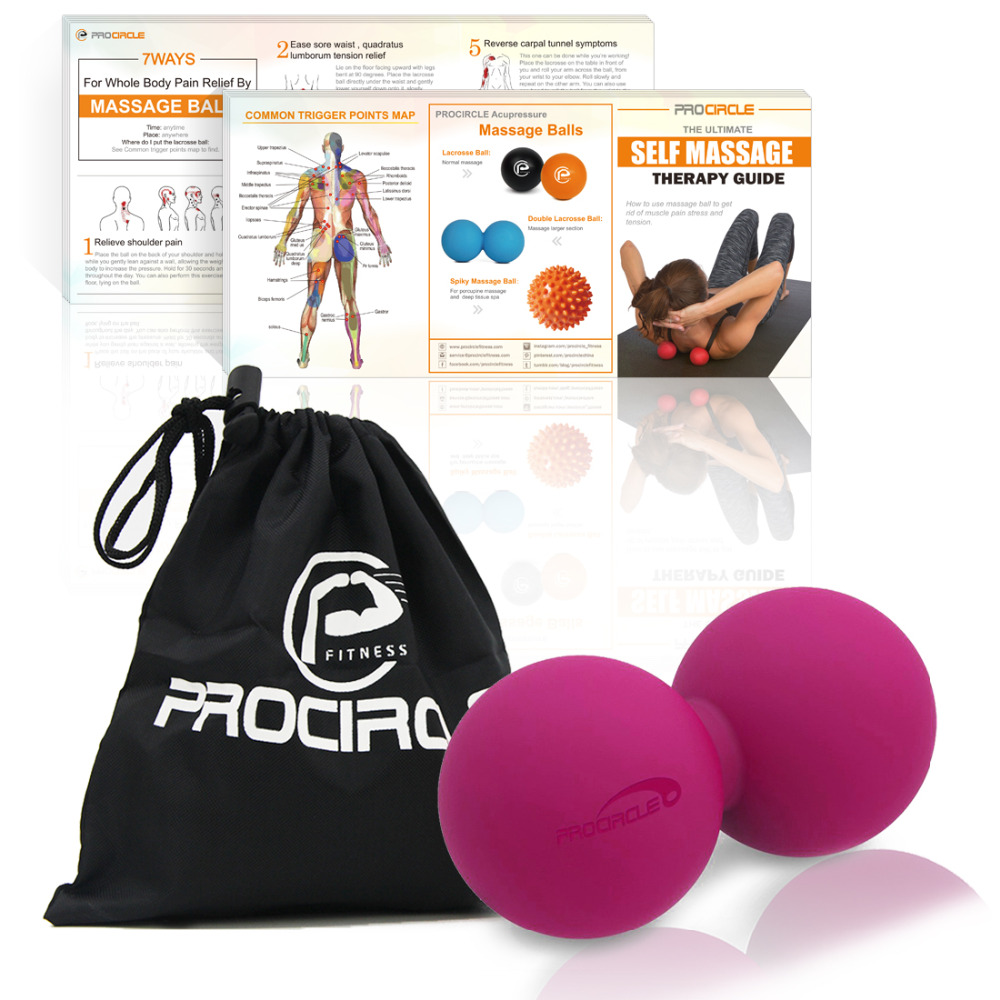 ProCircle Peanut Lacrosse Ball - Double Massage Ball for Myofascial Release and Trigger Point Therapy WITH FREE BAG