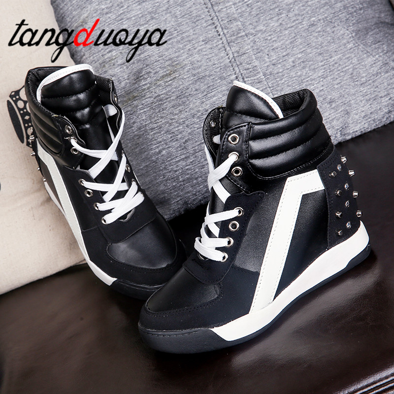 Women Spring casual Platform Vulcanized Shoes Lace Up Casual Footwear Female Fashion Increasing Height Rivet Shoes womenWomen Spring casual Platform Vulcanized Shoes Lace Up Casual Footwear Female Fashion Increasing Height Rivet Shoes women
