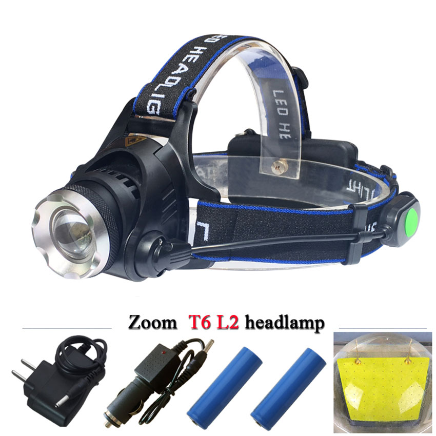 Waterproof 3800LM LED Headlamp Cree XML T6 XM-l2 Headlights Lantern with 18650 Rechargeable Battery 4 Modes Torch Head