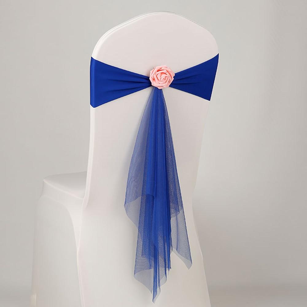 Goedkope 50 stks/partij Roze/Wit/Oranje Mousseline Stoel Sjerpen Met Roze Bloem Voor Bruiloft Decoratie Ceremony Stretch Lycra stoel Band-in sjerpen van Huis & Tuin op  Groep 3