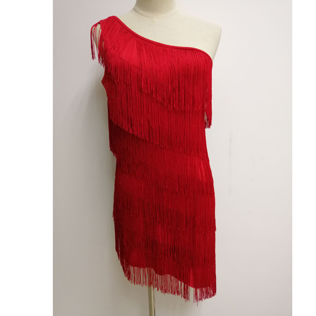 Layered fringe dress for women in red
