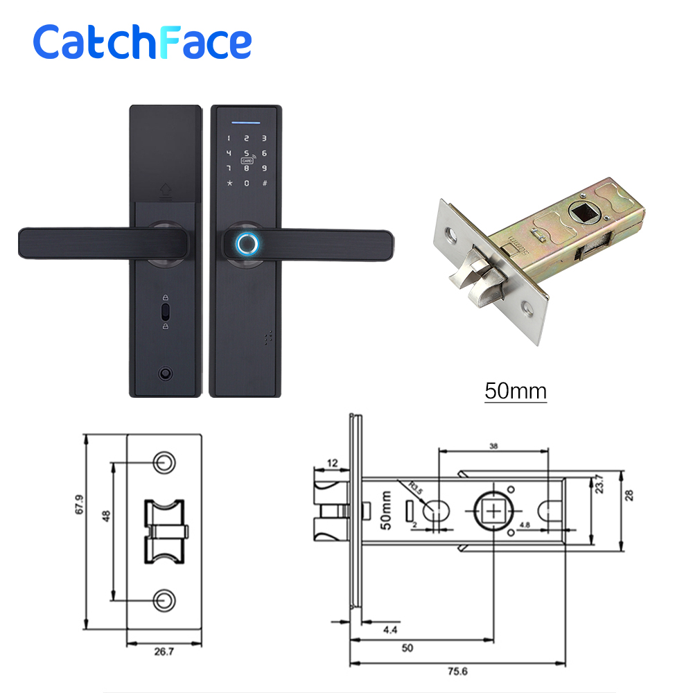 Image 2 - Fingerprint Lock Smart Card Digital Code Electronic Door Lock Home Security Mortise Lock with 5 Mortise Size Options-in Electric Lock from Security & Protection