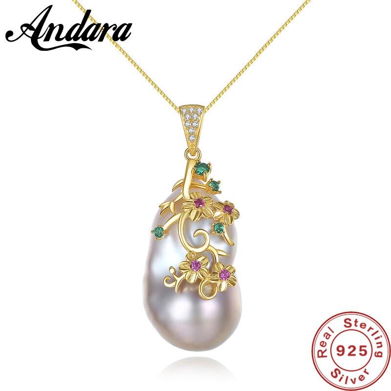 Spécial En Forme de Baroque Grand Naturel pendentif en perles Colliers Femmes 925 Sterling Argent nouvelle mode collier