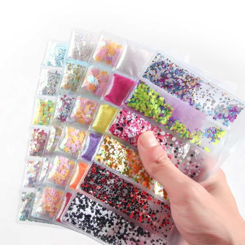 6 ตาราง/กระเป๋าผสมเล็บ Glitter Powder Sequins ที่มีสีสันเล็บ Flakes สติกเกอร์ 3d DIY เล็บ Sliders ฝุ่นสำหรับเล็บตกแต่งศิลปะ