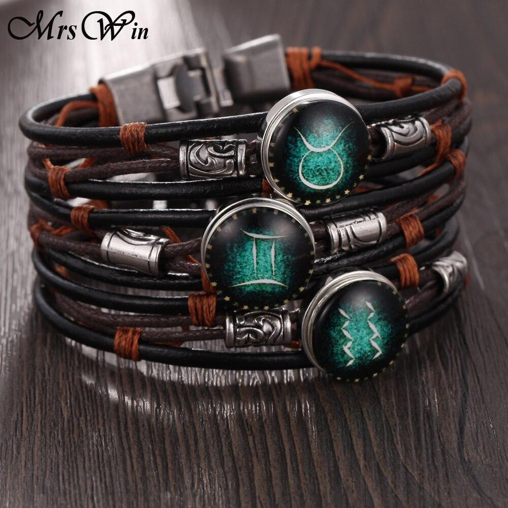 2018 Hot 12 Constellation Bracelet Men Snap Bracelets Leather Bracelets Braided Horoscope Bracelets Women Girls Jewelry Браслет