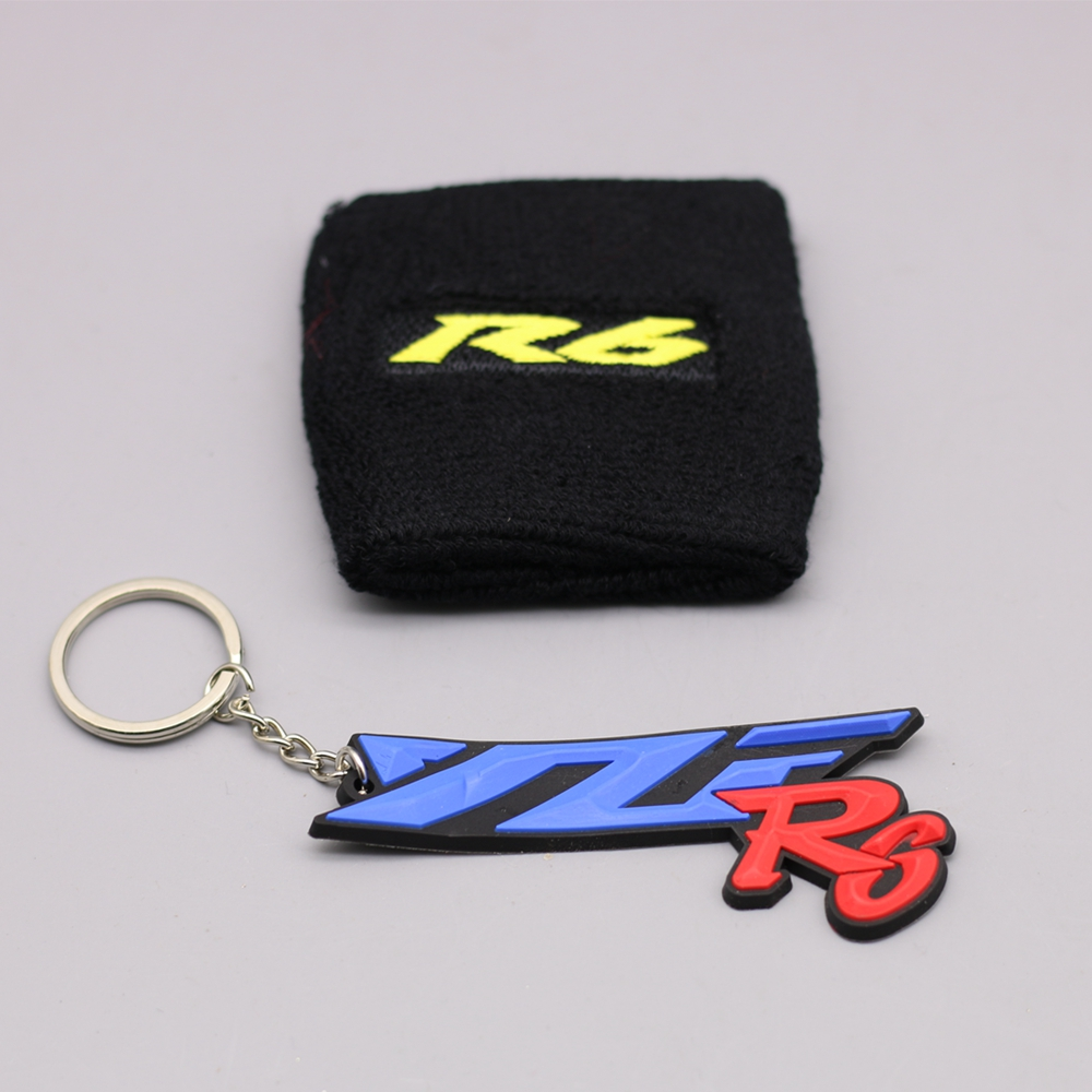 MOTORCYCLE GOLD R6 BRAKE RESERVOIR SOCKS FLUID OIL TANK CUP COVER SLEEVE For Yamaha R6 WITH YZF-R6 KEYRING motorcycle brake fluid reservoir clutch tank oil fluid cup for yamaha yzf r25 r15 r6 r125 kawasaki z750 z800 fz8 fz1 fz6r mt09