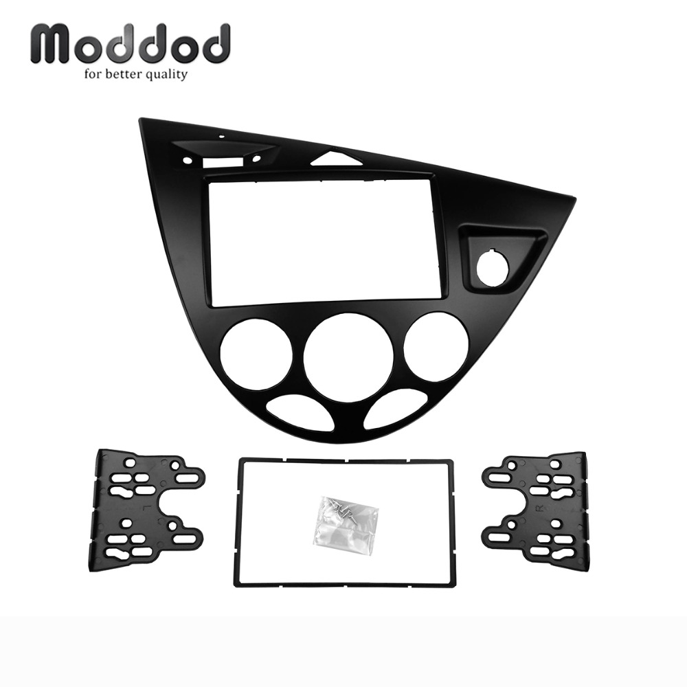 Double Din Stereo Panel for Ford Focus Fiesta Fascia Radio Refitting Dash Installation Trim Kit Face silver car 2din stereo panel fascia radio refitting dash trim kit for ford focus 98 04 rhd fiesta 95 01 rhd ca5038