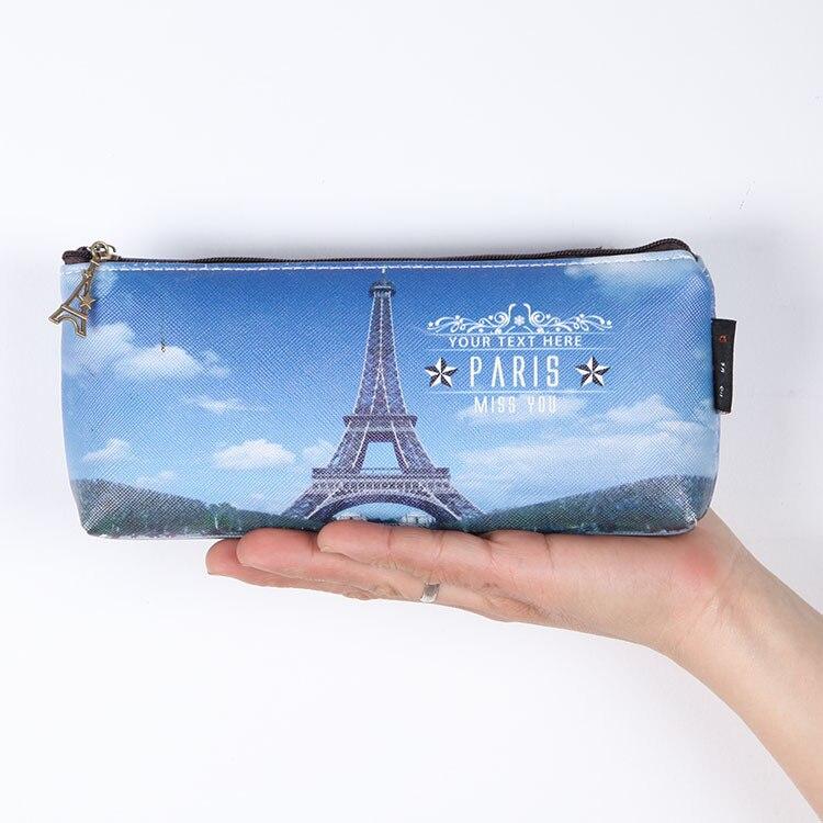 Rationeel Zachte Pu 3d Print Pen Case Creative Eiffeltoren Scenic Rits Potlood Tas Schoolbenodigdheden Pencilcase Voor Kids Gift