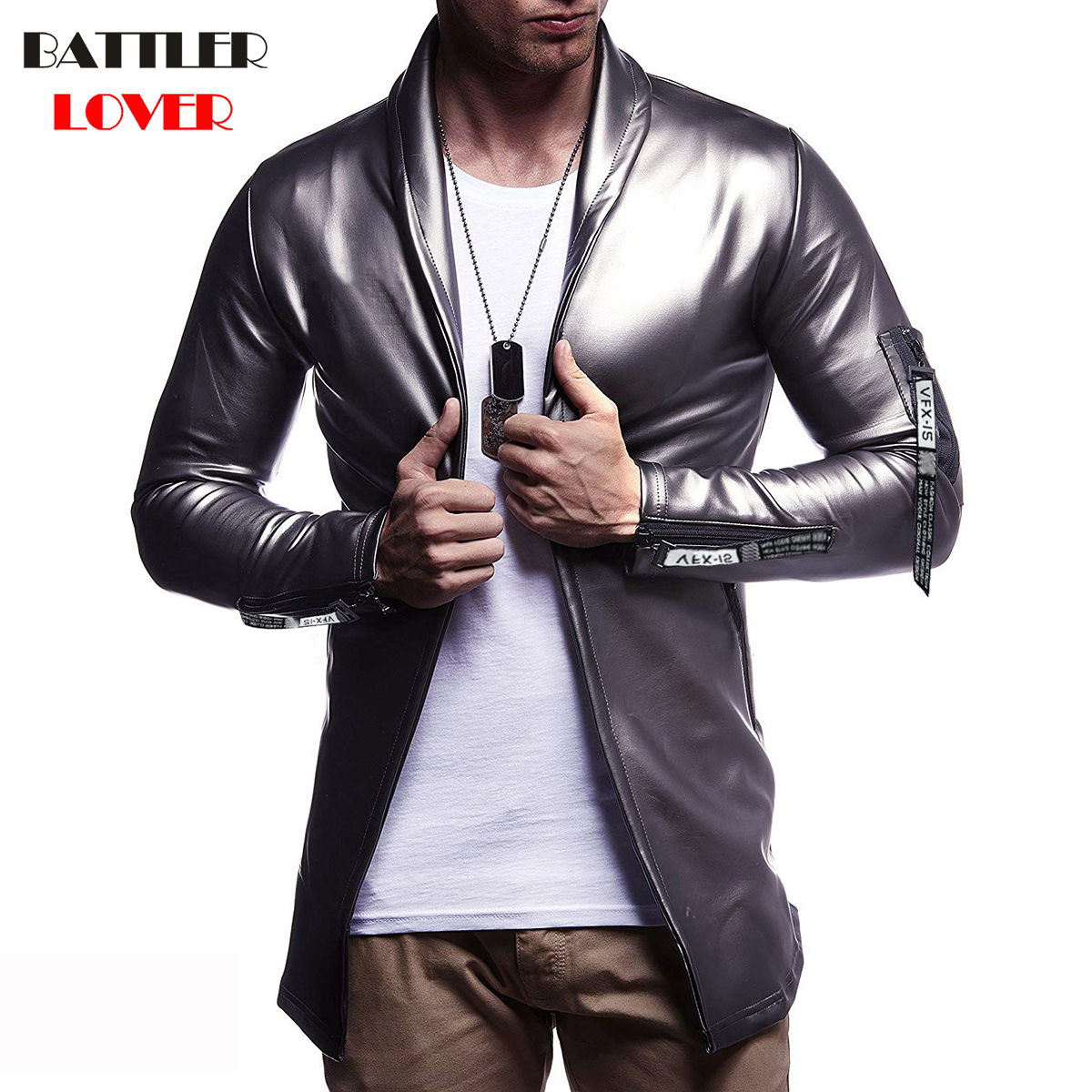 Luxury Brand Men Blazer Spring High Quality PU Leather Slim Fit Elastic Suit Hip Hop Mens Terno Masculino Blazers Men DJ Jacket