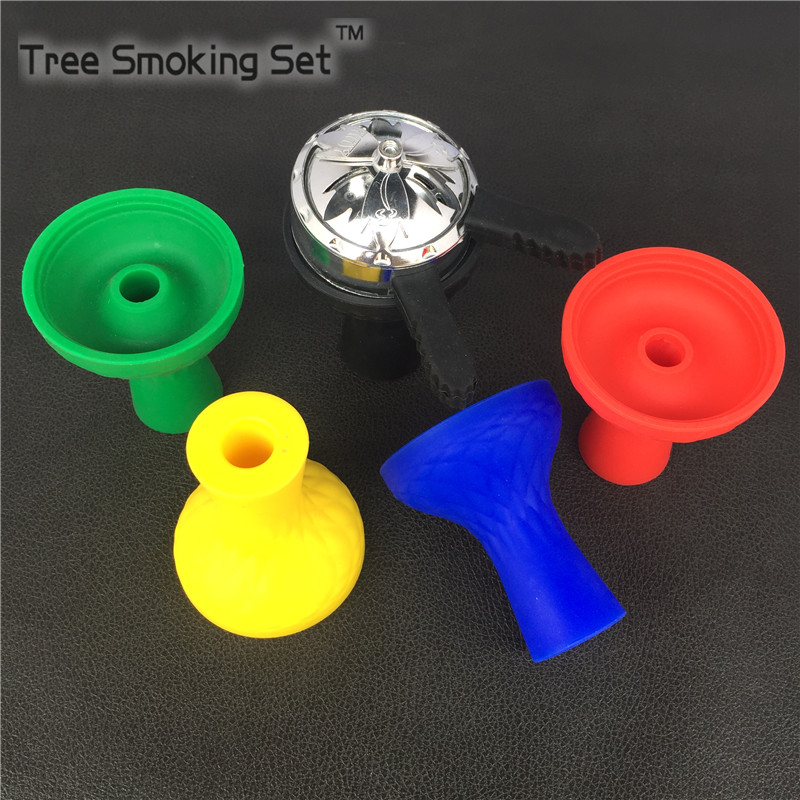 1pc Silicone Hookah Bowl 1pc metal Silver middle Double Handle Holder For Hookah <font><b>Smoking</b></font> Silicone Bowl Shisha Accessories
