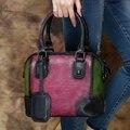 2017 Genuine Leather Top Handle Bag Mix Pink Green Handmade Cow Leather Handbag Shoulder Messenger Bag