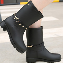 Water shoes spring and summer accessories frosted PVC belt liner in the tube wear-resistant waterproof rain boots with sock cheap Adult Spring Autumn wenjie brother Buckle Microfiber Fits true to size take your normal size Med (3cm-5cm) Rainboots Mid-Calf