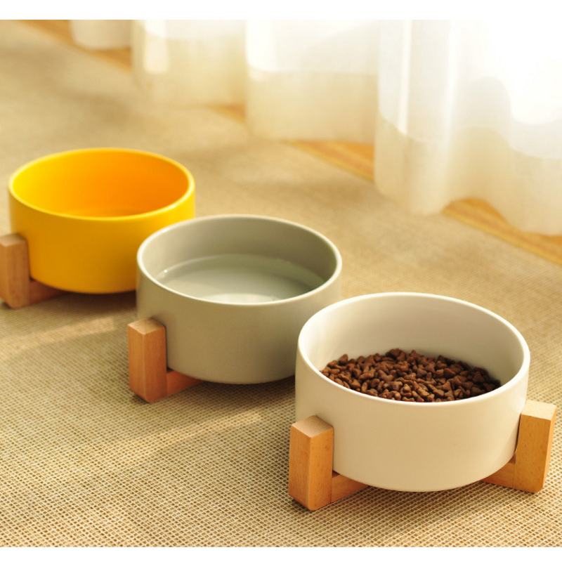 Pet Ceramic Bowl Solid Wood Frame Strong and Easy to Clean Pet supplies